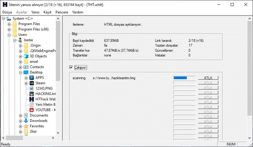 WebSite Klonlama HTTrack Programı
