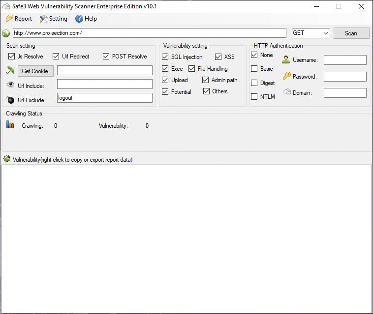 Safe 3 Hedef Sitede SQL Açığı Tespiti Program Arayüzü