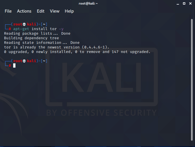 Terminal; apt-get install tor -y